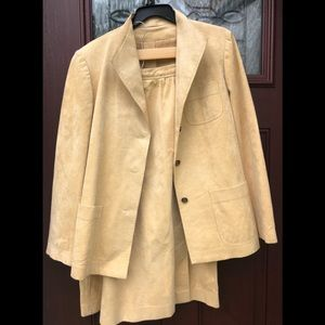Vintage Ultra Suede Tan Jacket Skirt Suit Set L